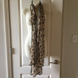 Beige nylon mesh with black embroidery bead scarf